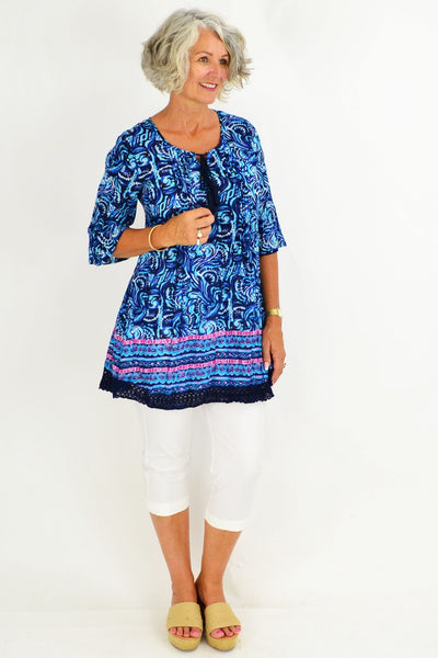 Blue Swirls Cotton Tunic Top
