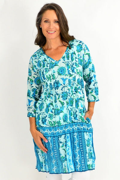 Blue Aqua Floral Print Tunic Dress | I Love Tunics | Tunic Tops | Tunic Dresses | Women's Tops | Plus Size Australia | Mature Fashion