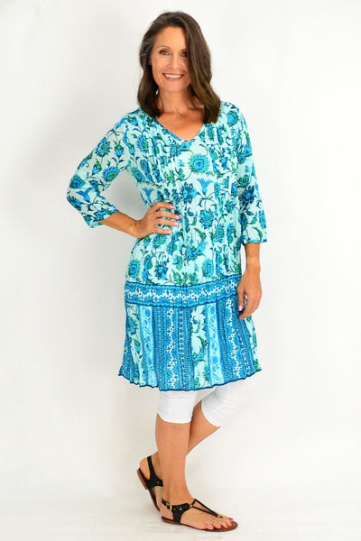 Blue Aqua Floral Print Tunic Dress