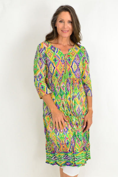 One Summer Long Lime Yellow Tunic Dress