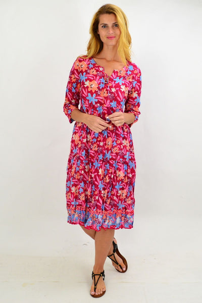 Pink Pattern Tie Neck Tunic Dress