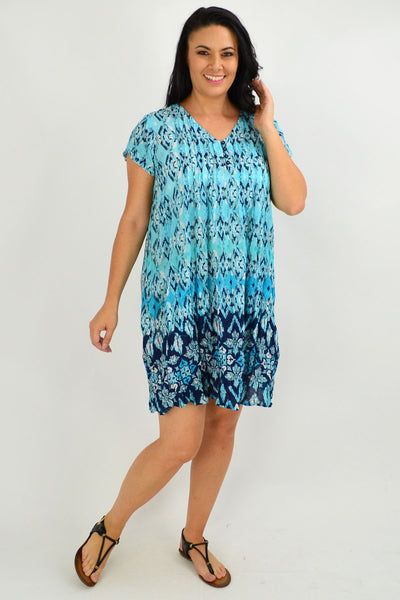 Blue Rochelle Cap Sleeve Tunic Top - I Love Tunics