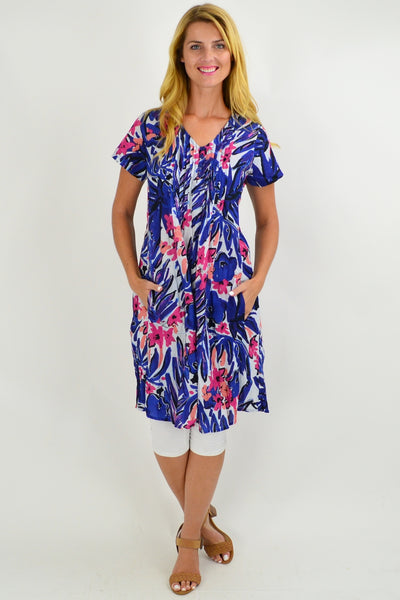 Abstract Floral Cap Sleeve Tunic Top