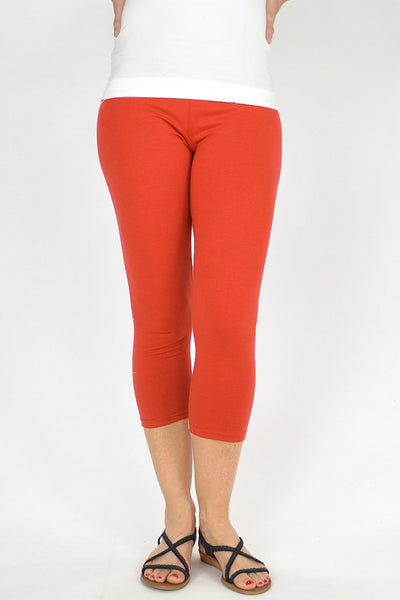 Orange Cotton 3/4 Leggings