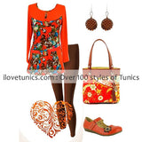 Orange Floral Tunic - I Love Tunics @ www.ilovetunics.com