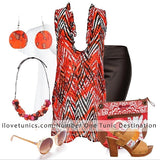 Orange Fire Ruffle Tunic - I Love Tunics @ www.ilovetunics.com