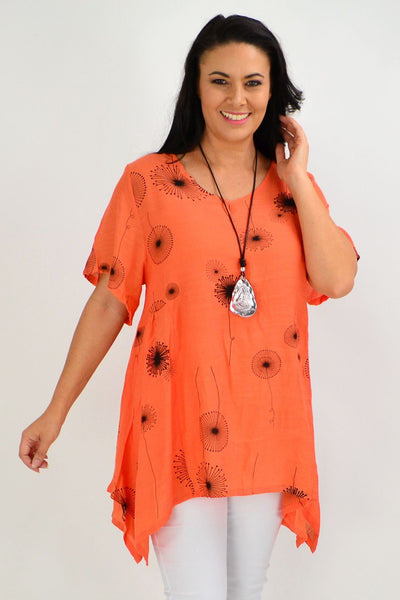 Orange Dandelion Wish Tunic Top - I Love Tunics