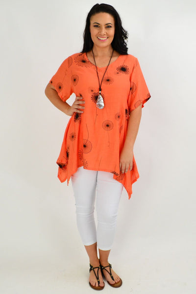 Orange Dandelion Wish Tunic Top