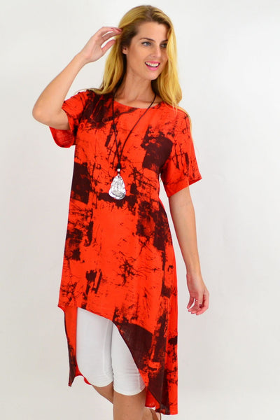 Orange Pattern Linen Hi Low Hem Tunic