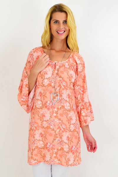 Orange Floral Light & Pretty Tunic Top | I Love Tunics | Tunic Tops | Tunic | Tunic Dresses  | womens clothing online