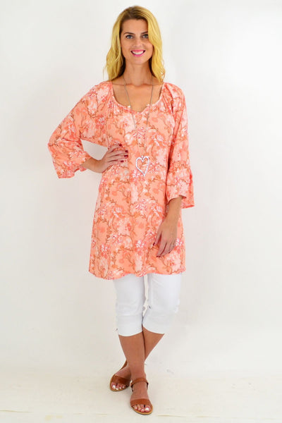 Orange Floral Light & Pretty Tunic Top