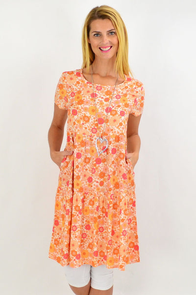 Orange Floral Ruffle Tunic Dress