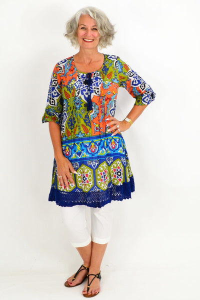 Blue Orange Tahiti Tunic Dress