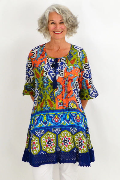 Blue Orange Tahiti Tunic Dress | I Love Tunics | Tunic Tops | Tunic | Tunic Dresses  | womens clothing online