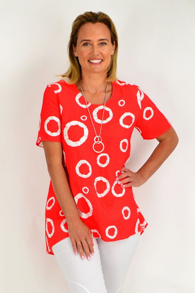 Orange Eve Spot Tunic Top