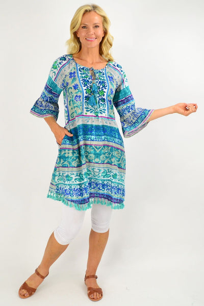 Ibiza Print Blue Tunic Dress | I Love Tunics | Tunic Tops | Tunic | Tunic Dresses  | womens clothing online