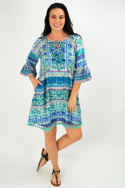 Ibiza Print Blue Tunic Dress