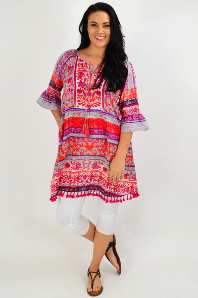 Red Ibiza Print Tunic Dress | I Love Tunics | Tunic Tops | Tunic | Tunic Dresses  | womens clothing online