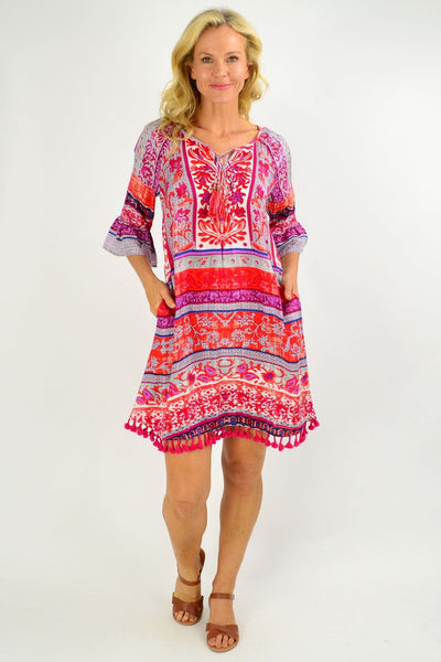 Red Ibiza Print Tunic Dress