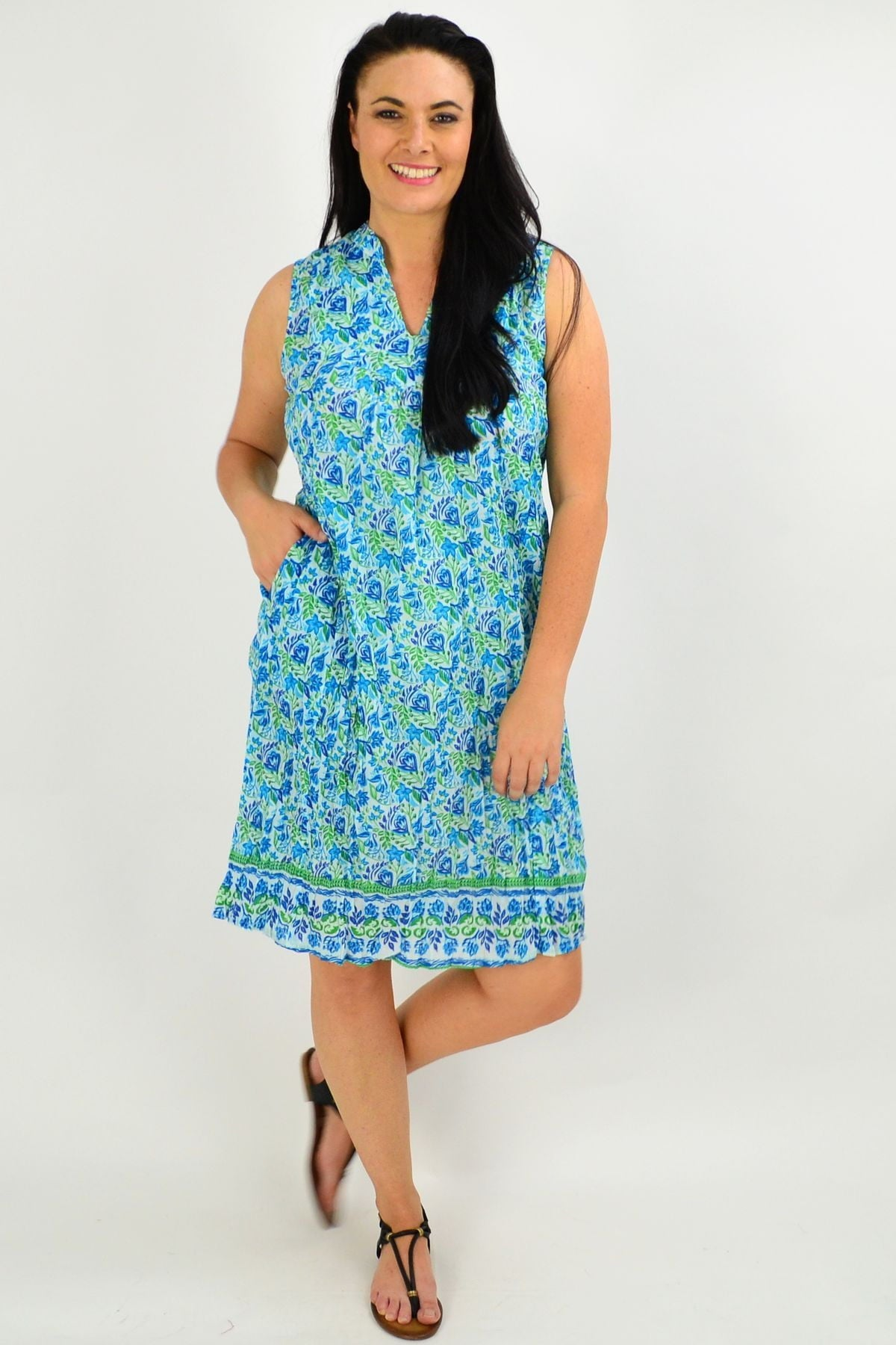 Blue Flower Garden Cotton Tunic Dress | I Love Tunics | Tunic Tops | Tunic | Tunic Dresses  | womens clothing online