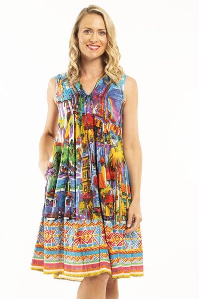 Orientique Kythira Cotton Dress | 81080 | mixed bright colour dress