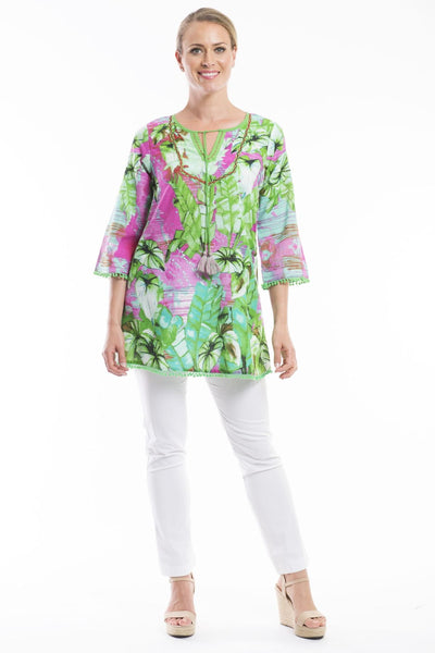 Lecce Green Pink Floral Orientique Tunic Top
