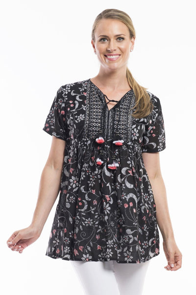 Black Floral Boho Pom Pom Orientique Tunic Blouse | I Love Tunics | Tunic Tops | Tunic Dresses | Women's Tops | Plus Size Australia | Mature Fashion