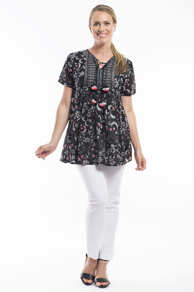 Black Floral Boho Pom Pom Orientique Tunic Blouse