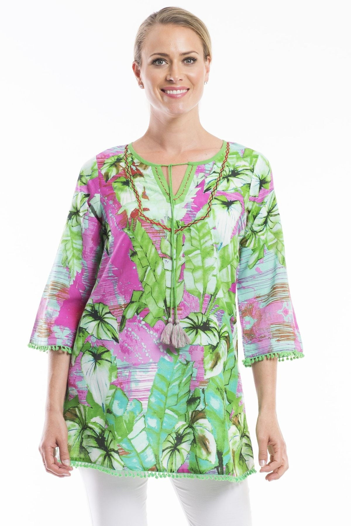 Lecce Green Pink Floral Orientique Tunic Top | I Love Tunics | Tunic Tops | Tunic | Tunic Dresses  | womens clothing online