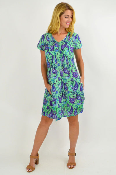 Green Purple Paisley Cap Sleeve Tunic Top
