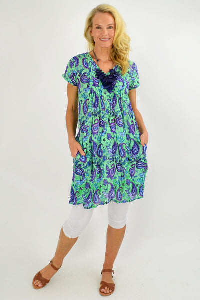 Green Purple Paisley Cap Sleeve Tunic Top - I Love Tunics