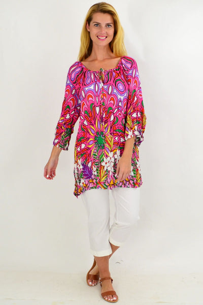 Pink Floral Crinkle Tie Tunic Top