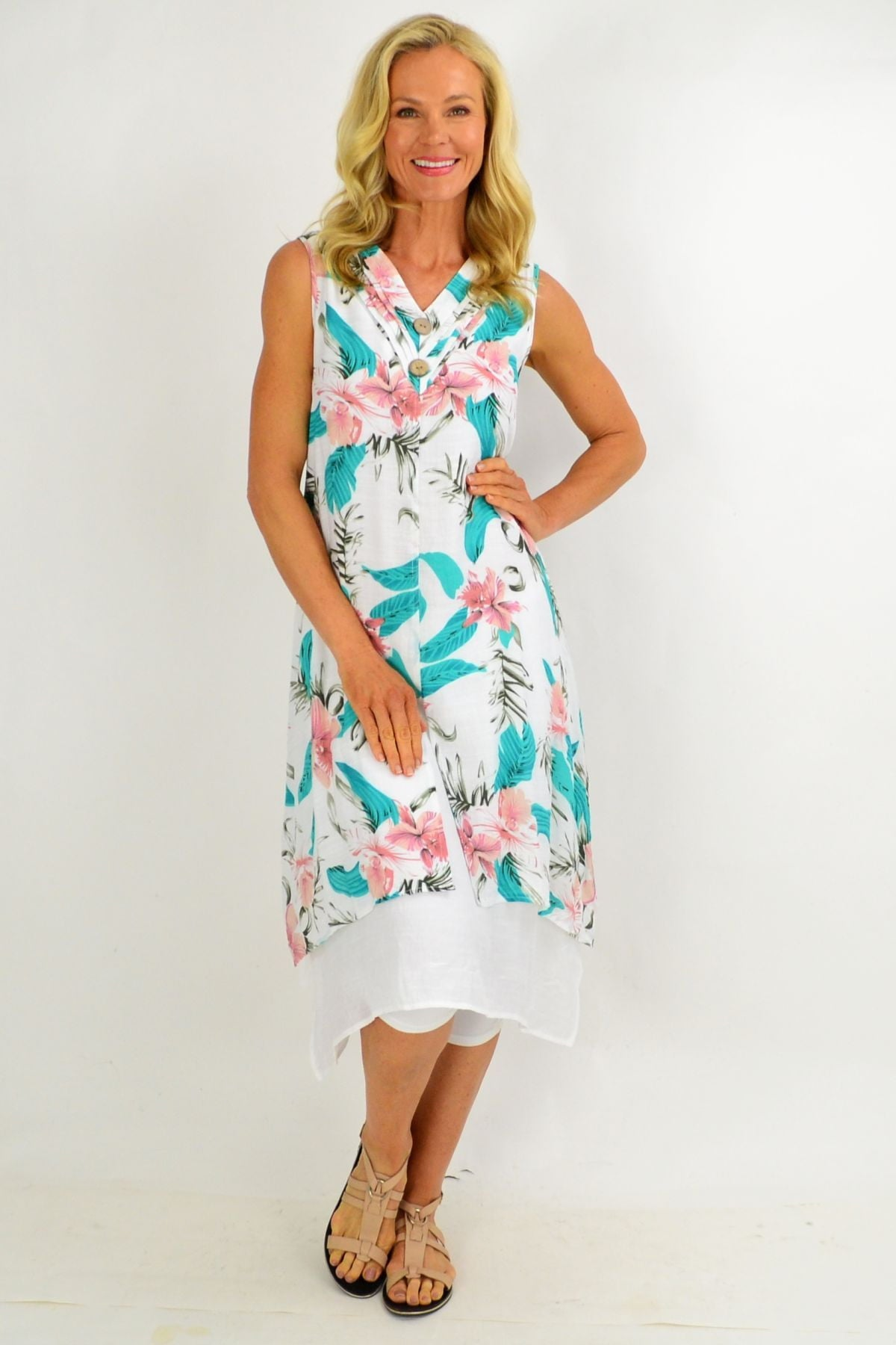 Pink Aqua Floral Overlay Summer Tunic Dress | I Love Tunics | Tunic Tops | Tunic | Tunic Dresses  | womens clothing online