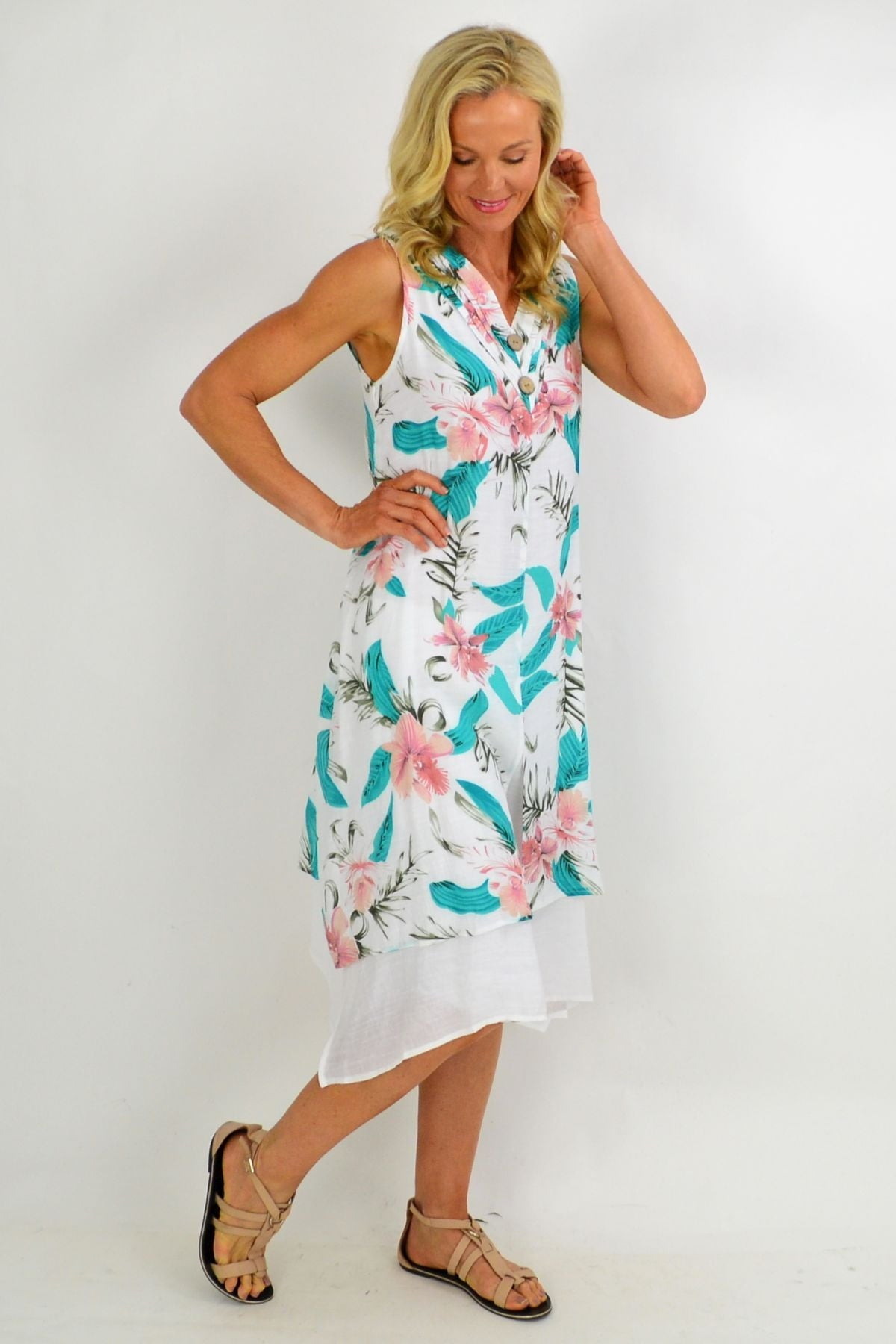 Pink Aqua Floral Overlay Summer Tunic Dress