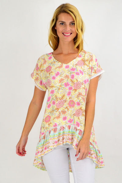 Yellow Pink Floral Hi Low Tunic Top | I Love Tunics | Tunic Tops | Tunic | Tunic Dresses  | womens clothing online