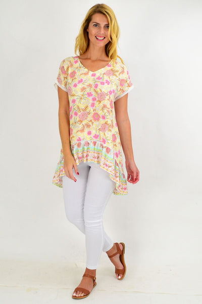 Yellow Pink Floral Hi Low Tunic Top