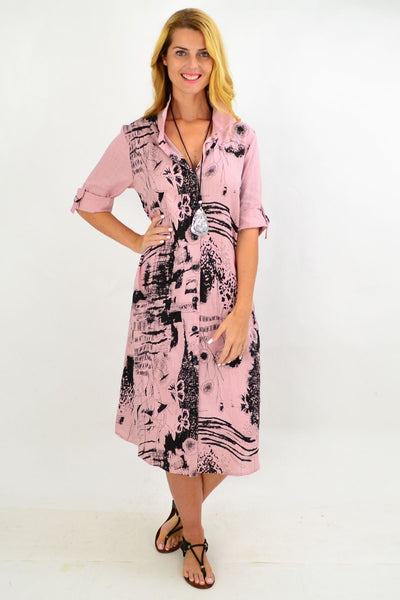 Dusty Pink Abstract Shirt Dress