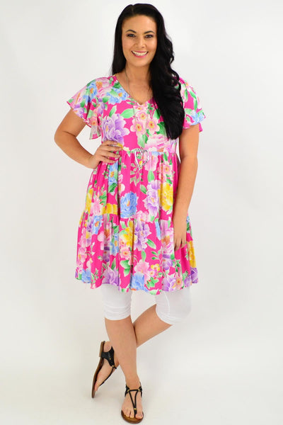 Pink Oriental Flower Garden Tunic Dress