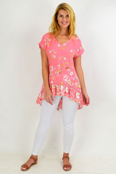 Pink Dianthus Deltoides Hi Low Tunic Top