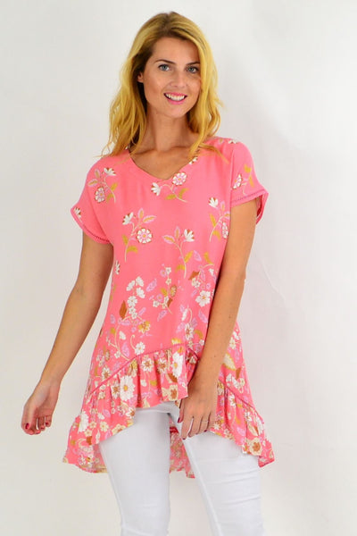 Pink Dianthus Deltoides Hi Low Tunic Top | I Love Tunics | Tunic Tops | Tunic | Tunic Dresses  | womens clothing online