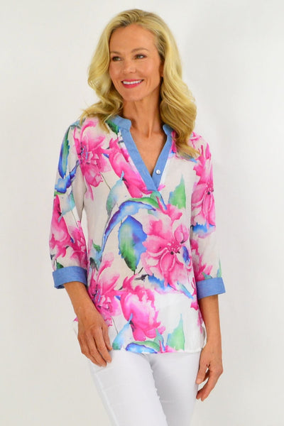 Pink Hibiscus Tunic Shirt | I Love Tunics | Tunic Tops | Tunic | Tunic Dresses  | womens clothing online