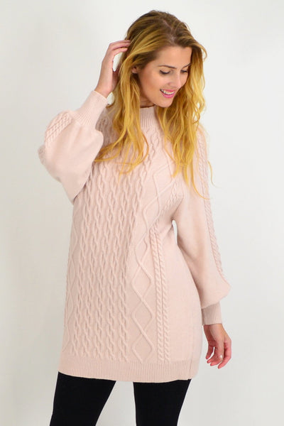 Pink Cable Knit Woolly Tunic Jumper - I Love Tunics