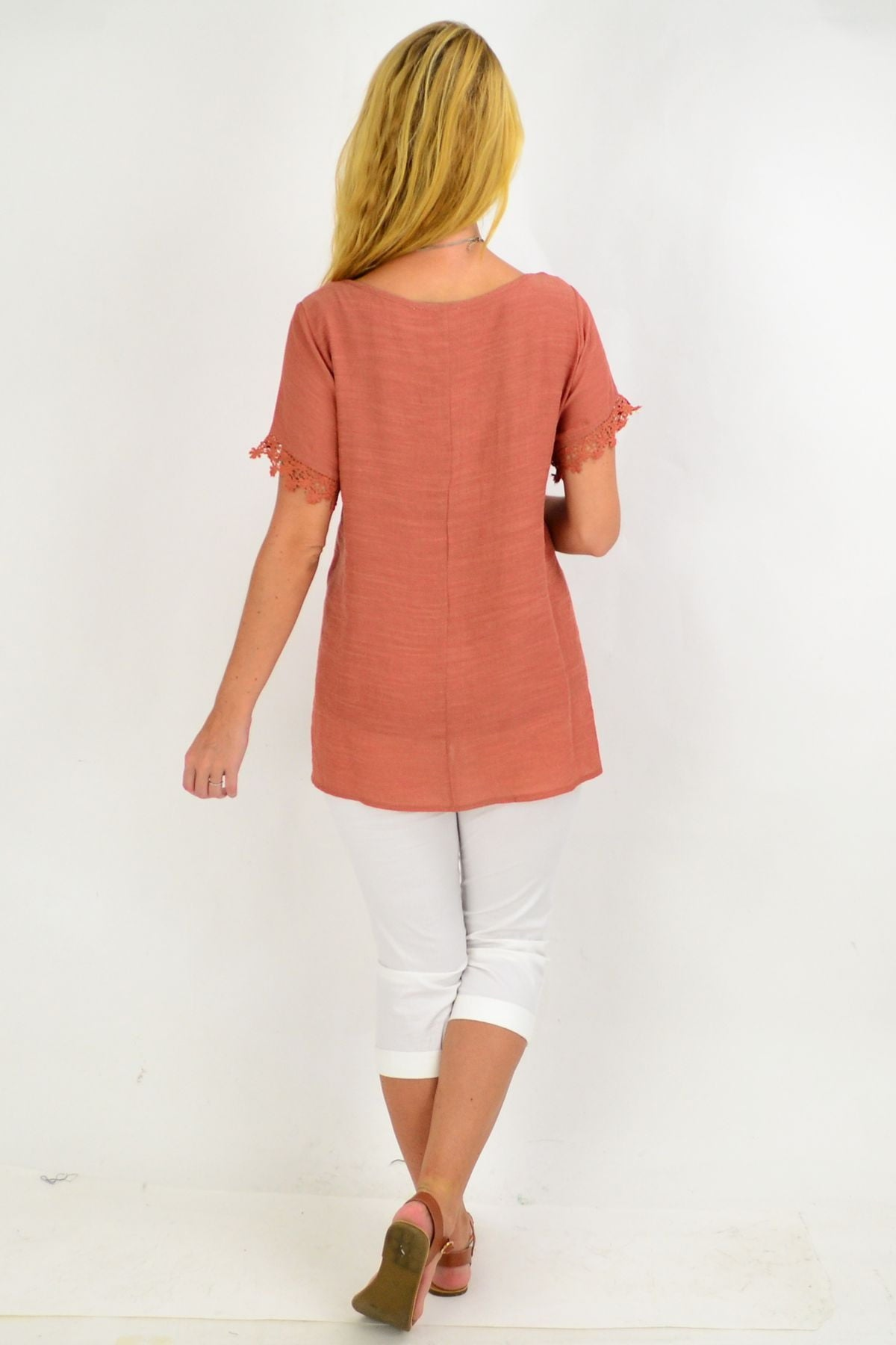 Dark Salmon Lace Trim Tunic Top | I Love Tunics | Tunic Tops | Tunic | Tunic Dresses  | womens clothing online