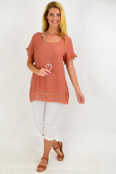 Dark Salmon Lace Trim Tunic Top