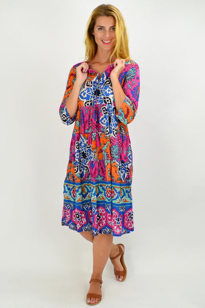 Greek Tile Floral Tie Neck Tunic Dress