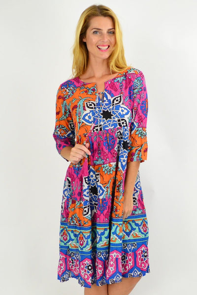 Greek Tile Floral Tie Neck Tunic Dress | I Love Tunics | Tunic Tops | Tunic | Tunic Dresses  | womens clothing online