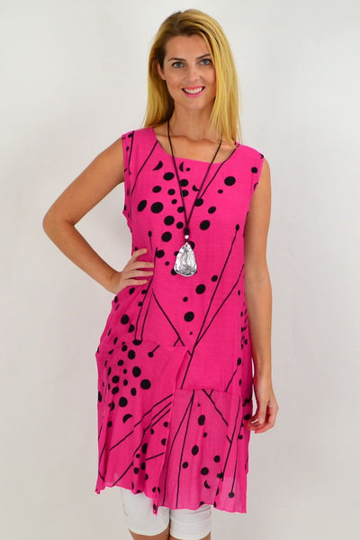 Hot Pink Spots Tunic Dress