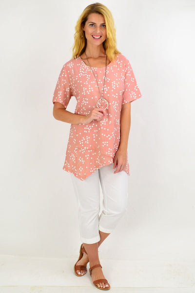 Dusty White Small Spot Tunic Top