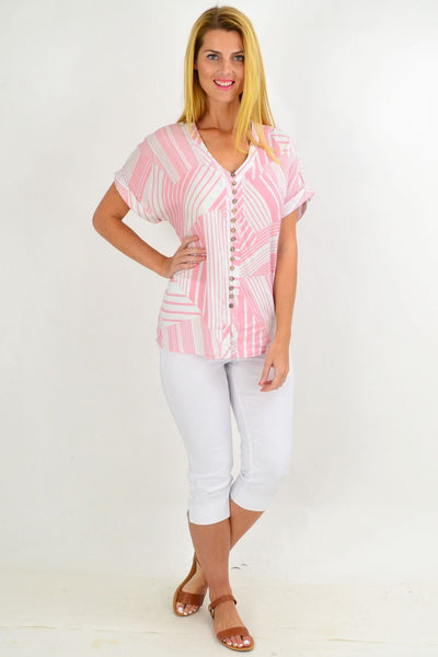 Pink White Stripe Tunic Top