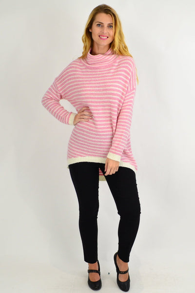 Pink Stripe Mohair Hi Low Knit Tunic
